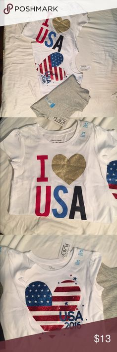 NWT Girls 4T Graphic Shirt Bundle Two American Graphic tee tops and One gray tee in size 4T The Childrens Place Shirts & Tops Tees - Short Sleeve