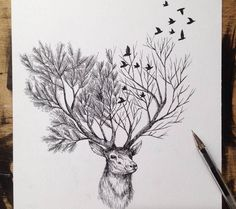 Poetic Surreal Black Ink Pen Illustrations #art #sketch #pen #ink #animals