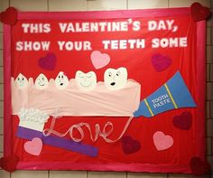 WVU dental hygiene February bulletin board, show your teeth some love ;)