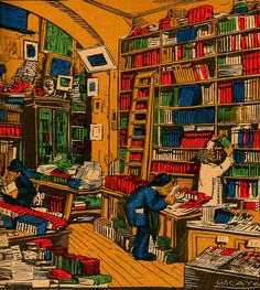 Librería de viejo Dibujo de Macaya