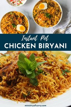 Instant Pot Chicken Biryani is made of fragrant basmati rice, tender spiced chicken, and caramelized onions, and can be cooked in less than an hour while maintaining the same authentic flavor and texture of traditional versions. Chicken Biryani Recipe Video, Biryani Chicken, Best Mutton Biryani Recipe, Chicken Biryani Recipe Hyderabadi, Easy Chicken Biryani Recipe, Veg Biryani, Indian Food Recipes, Vegetarian Recipes, Asian Food Recipes