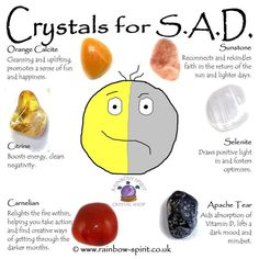Crystal Set for Seasonal Affective Disorder SAD Crystal Healing Chart, Crystal Guide, Crystal Magic, Crystal Shop, Healing Crystals, Chakra Crystals, Crystals Minerals, Crystals And Gemstones, Stones And Crystals