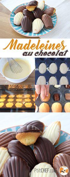 Recette de madeleines en coque de chocolat pour le goûter :-) Noir, au lait ou blanc, à vous de choisir ! // #ptitchef #recette #madeleine #cuisine #gouter #mignardise #chocolat #faitmaison #repas #gourmandise #patisserie #dessert