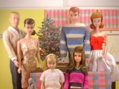 Vintage Barbie Family Christmas Portrait