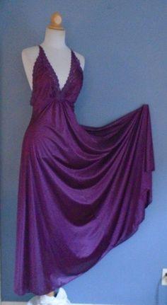 4934249c211 Vintage Miss Elaine Merlot Purple Sexy Bombshell Vintage Nightgown Plunge  Neck M  fashion  clothing