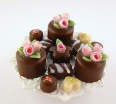 1/12TH scale  CHOCOLATE PETIT FOURS ON SHABBY METAL TRAY by 64tnt