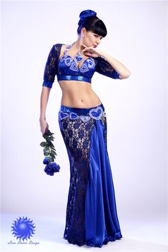 Gorgeous blue lace belly dance costume