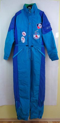 ATOMIC Vintage Ski Suit size Euro 50 UK 40 Adult Mens Turquoise VGC  ski patchs