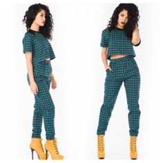 Mad About Plaid Sorella Boutique Full Plaid Outfit Crop Top Pants Green Timberland Style Wedge High Heel Boots Fashion Swag Urban Style