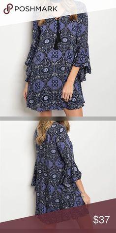 Lavender/black bell sleeve yolk tie front dress. 3 qtr sleeve gorgeous print bell sleeve lavender and black dress with tie front Dresses