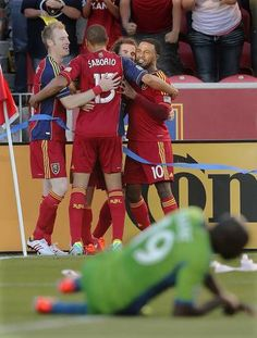 Real Salt Lake midfielder Kyle Beckerman (second from right) celebrates his goal with teammates during an MLS game between Real Salt Lake and Seattle on Saturday, June 22, 2013 at Rio Tinto Stadium. RSL beat the Sounders 2-0. (Jeffrey D. Allred, Deseret News)