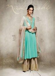Aqua Color Latest Palazzo Suit Of Georgette Fabric From The Latest Nakkashi Catalogue