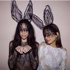 Lace Bunny Ears Headband with Veil - Black - Dempsey & Gazelle - 1