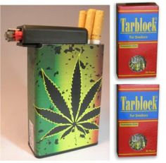 Tarblock Cigarettes Filters 2 Pack Plus Cigarette Case Pot Weed Plant by Tarblock. $9.95. Cigarette case with lighter holder and two pack Tarblock cigarette filters!   Cigarette case with lighter holder compartment.   Holds kings and 100's along with soft and hard packs. Built on lighter holder which a smoker can slide over to retrieve a cigarette then slide back and light the cigarette without removing the lighter. The removable belt clip is convenient because it allows f...