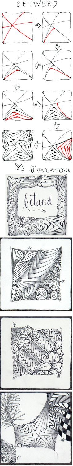 Betweed. Official Zentangle with variations. I love this tangle and it looks great when shaded.