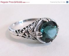 ON SALE Sterling Silver Emerald Solitaire Filigree Engagement Ring Size 9/ Antique Vintage Art Deco