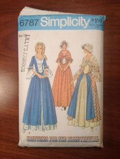 70s Simplicity 6787 Pattern Bicentennial Dress Cap & Shawl Miss Sz 12 Bust 34