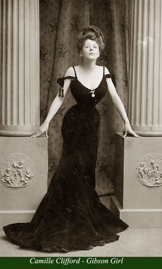 Born in Belgium and finally raided in Boston USA, Camille Clifford's towering coiffure and unbelievable figure made her famous as a picture postcard icon. In 1905 she won a contest initiated by the illustrator Charles Dana Gibson who was looking for a woman to depict his stylized Gibson Girl sketches.