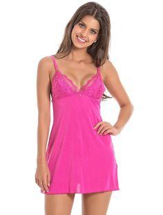 Camisola de microfibra amni e renda cor: rosa cetin www.recco.com.br