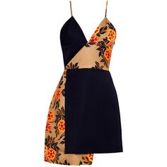 MSGM Floral Print Cross Dress (12.934.025 VND) ❤ liked on Polyvore featuring dresses, navy, floral dress, navy dress, short navy dress, spaghetti strap dress and navy blue short dress
