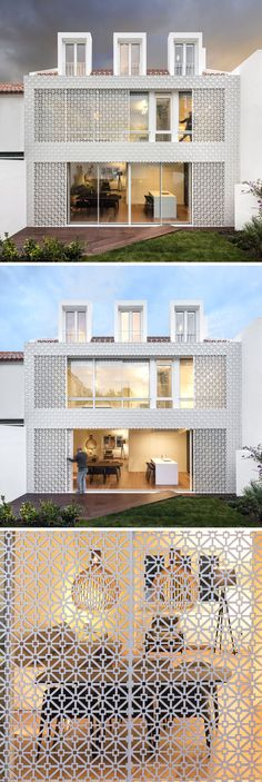 The rear of this house is covered in a white artistic screen inspired by traditional Portuguese tiles, to allow sunlight to filter through to the interior of the home and to provide added security.