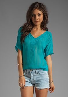 Beyond Vintage Top with Crescent Mesh Details in Turquoise @REVOLVEclothing