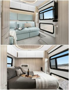 New campervan from Leisure Vans boasts space-saving murphy bed and two living areas Murphy Bed Desk, Best Murphy Bed, Murphy Bed Plans, Leisure Travel Vans, Modern Murphy Beds, Decorate Your Room, Modern Spaces, Small Spaces, Campervan