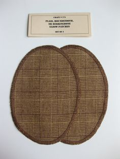 Elbow Patches - Tan/Brown Basketweave Plaid Cotton - Set of 2