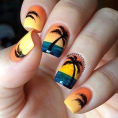 August nails, Beach nails, Exotic nails, Nails nautical, Palm tree nail art, Party nails, Resort nails, Romantic nails