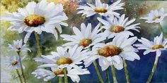 Peinture - medium Aquarelle - Gaétane Lessard Watercolor Flowers, Watercolor Art, Les Oeuvres, Still Life, Daisy, Projects To Try, Leaves, Drawings, Watercolors