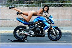 Hot Latina and a Kawasaki Motorcycle ER6N by Marknowhereman, via Flickr