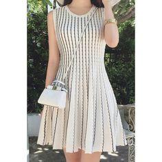 Striped Ruffled Casual Round Collar Sleeveless Dress For Women