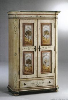 MOBILI RUSTICI IN LEGNO MASSELLO - RL armoire that could inspire miniature version, if only I could do teeny tiny paintings!