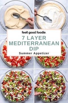 Try this easy Mediterranean twist on the popular 7 layer dip for your next party; perfect appetizer to feed a crowd and dip with pita chips! Mediterranean Appetizers, Mediterranean Spices, Appetizers For Party, Appetizer Recipes, Layer Dip, Air Fryer Recipes, A Food, Food Processor Recipes, Crowd