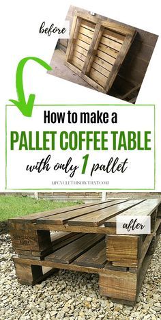 If you're looking for a cool project to do this weekend, then check out this post on how to make a wood pallet coffee table with only one pallet. This easy pallet project can be done in one afternoon with step-by-step instructions that are found here. This narrow pallet table is great for smaller spaces and can be used in your living room or in the garden. Click through and see how it's made! Pallet Crafts, Diy Pallet Projects, Cool Diy Projects, Wood Crafts, Wood Projects, Wood Pallet Furniture, Wood Pallet Signs, Wood Pallets, Coffee Table Makeover