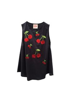 Embroidery Red CHERRIES, Black Tshirt, LOLA DARLING Sleevless Top, Red and Green Paillettes, Elasticized Cotton, Handmade in Italy di loladarlingirl su Etsy