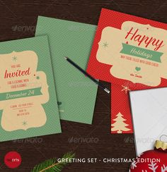 Christmas Greeting Cards - Vol.1  #GraphicRiver            This holiday set ist complete vector based, so it can be resized and rearranged to your needs. Enjoy and happy holidays!      Text is very easy changeable  Well organized layers  Print ready format and resolution  300 DPI, CMYK  Bleed marks     Invitation Card, front & back, 5in x 7in  Post Card, front & back, 7in x 5in  Tag or Label, front & back, 3.5in x 2in     Braxton by Fontfabric  Canter by Fontfabric     The stamp illustration…