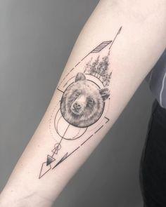 Arrow Tattoos For Women, Dragon Tattoo For Women, Simbolos Tattoo, Mom Tattoos, Tatoos, Arrow Tattoo Design, Mandala Tattoo Design, Geometric Bear Tattoo, Grizzly Bear Tattoos