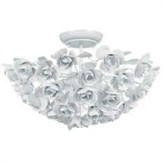 @Rosenberry Rooms is offering $20 OFF your purchase! Share the news and save!  Cypress White Wrought Iron Rose Semi Flush Mount #rosenberryrooms