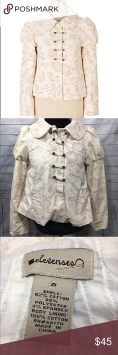Anthropologie Elevenses Latte Art Jacket RARE! Anthropologie Elevenses Latte Art jacket. beautiful cream color with paisley like floral print. brass buttons. size 8. Anthropologie Jackets & Coats