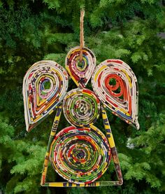 Recycled Magazine Angel Ornament