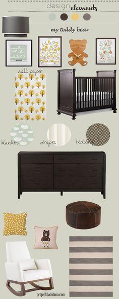 gray brown and yellow nursery design board featuring the Joya Rocker by Monte Design | Modern Nursery Furniture.