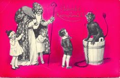 KRAMPUS & SANTA/LONG TONGUE DEVIL OLD POSTCARD
