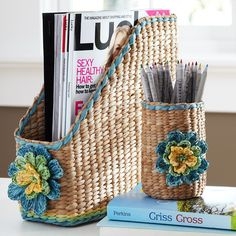 Get organized with desk accessories in smart designs and stylish patterns from Pottery Barn Teen. Find cute desk decor including desk mats, notebooks, and organizers to make it your own. Newspaper Basket, Newspaper Crafts, Cute Desk Decor, Paper Furniture, Furniture Movers, Furniture Stores, Magazine Crafts, Paper Weaving, Art N Craft