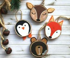 Hand painted wood slice Christmas ornaments - Before After DIY Penguin Ornaments, Wooden Ornaments, Diy Ornaments, Wooden Reindeer, Picture Ornaments, Holiday Ornaments, Tree Decorations, Christmas Decorations, Wood Slice Crafts