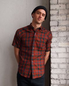 9c8d21cc531 Mens Vintage Urban Plaid Shortsleeved Button-up Collared Shirt  38