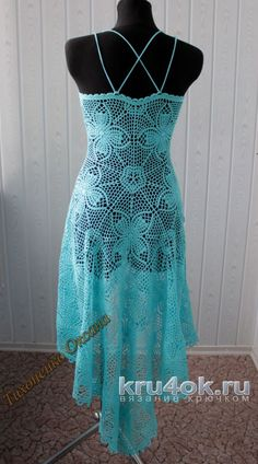 Jobs Ksenia Tihonenko knitting and crochet scheme Cute Crochet, Hand Crochet, Crochet Lace, Blue Dresses, Summer Dresses, Formal Dresses, Church Dresses, Crochet Squares, Blouse Dress