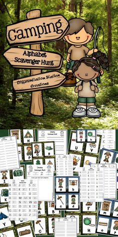 Camping Alphabet Scavenger Hunt: Upper and Lowercase Letters. Differentiated recording sheets.  Active and kinesthetic learning. Write the Room. Preschool, kindergarten, homeschool, special education. $