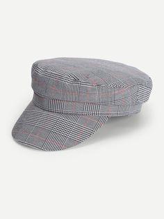 b0409684fd8 Houndstooth Baker Boy Hat -SheIn(Sheinside) Baker Boy
