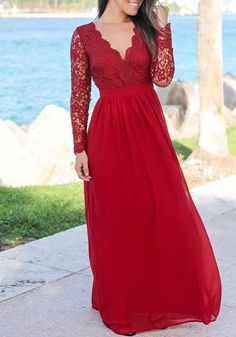 3ad530abdb Red Patchwork Lace Draped Backless V-neck Long Sleeve Elegant Maxi Dress